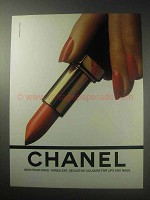 1985 Chanel Lipstick Ad - Turbulent, Seductive Colours