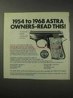 1985 Astra Cub Pistol Ad - Owners Read This