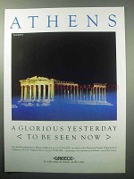 1987 Athens Greece Tourism Ad - A Glorious Yesterday