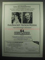 1987 84 Charing Cross Road Movie Ad - Anthony Hopkins