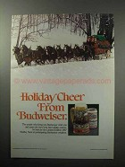 1987 Budweiser Beer Ad - Holiday Cheer