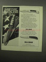 1987 Ka-Bar Knives Ad - U.S.M.C. Fighting Knife