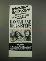 1987 Hannah and Her Sisters Movie Ad - Best Film