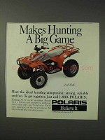 1993 Polaris 2x4 350L ATV Ad - Makes Hunting Big Game