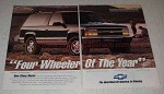 1992 Chevy Blazer Ad - Four Wheeler of the Year