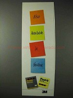 1990 3M Post-it Notes Ad - Also Available in Yellow