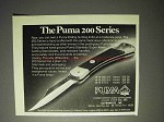1976 Puma 200 Series Knife Ad