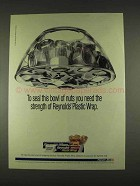 1996 Reynolds Plastic Wrap Ad - Seal Bowl of Nuts