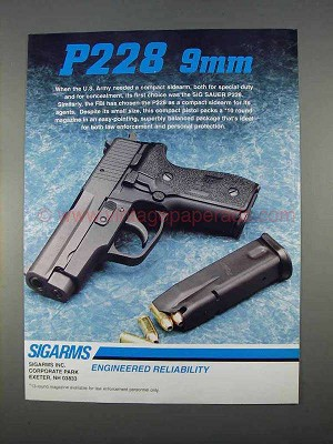 1996 sigarms p228 9mm pistol ad