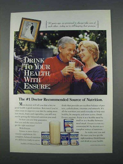 1996 Ensure Supplement Ad - Drink to Your Health