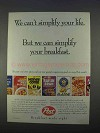 1996 Post Cereal Ad - We Can't Simplify Your Life