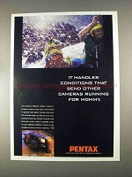 1996 Pentax IQZoom 90WR Camera Ad - Handles Conditions