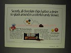 1996 M&M's Mini Baking Bits Ad - Colorful Candy Shower