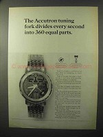 1964 Bulova Accutron Model H Watch Ad - Tuning Fork