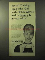1964 Manpower White Glove Girls Ad - Special Training