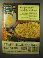 1964 Kraft Macaroni & Cheese Ad - Lot Lunch for Nickel