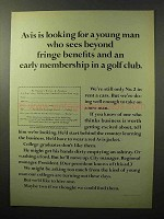 1964 Avis Rent a Car Ad - Fringe Benefits and Golf Club