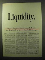 1964 Members New York Stock Exchange Ad - Liquidity