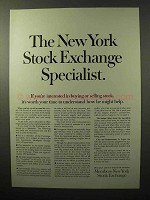 1964 Members New York Stock Exchange Ad - Specialist