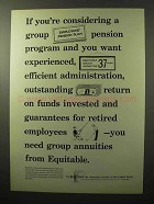 1964 The Equitable Life Assurance Ad - Group Pension