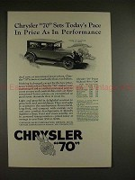 1926 Chrysler 70 Coach Ad - Sets Today's Pace in Price!