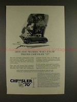 1926 Chrysler 70 Roadster Car Ad, Men & Women Who Know!
