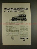 1926 Chrysler 58 Sedan Car Ad - Superb Performance!!