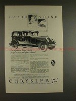 1926 Chrysler 70 Car Ad - Even Greater Beauty!!