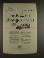 1927 Buick Car Ad - Only 4 Oil Changes A Year!!