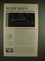 1926 Marmon Series 75 Coupe Roadster Car Ad - NICE!!