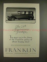 1927 Franklin Car Ad - The 25th Anniversary Franklin!!
