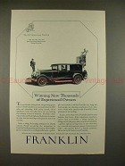 1927 Franklin Sports Sedan Car Ad - Experienced Owners!