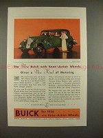 1934 Buick Car Ad - Knee-Action Wheels Motoring!