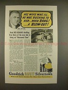 1937 Goodrich Safety Silvertown Tires Ad w/ Rex Beach!!