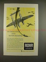1943 WWII Rohr Aircraft Corp. Ad w/ P-38 Lightning!!