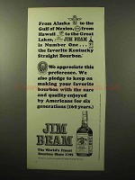 1964 Jim Beam Bourbon Ad - Alaska to Gulf of Mexico