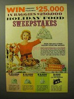 1964 Baggies Disposible Plastic Bags Ad - Holiday Food