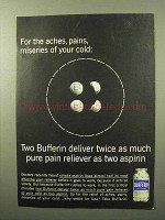 1964 Bufferin Medicine Ad - For Aches, Pains, Miseries