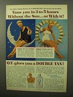 1964 Coppertone Q.T. Tanning Lotion Ad - Tans You