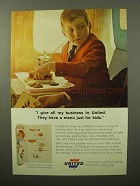 1964 United Airlines Ad - Have A Menu Just for Kids