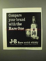 1964 J&B Scotch Ad - Compare Your Brand With Rare