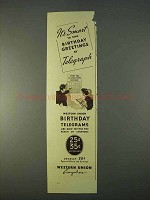 1936 Western Union Ad - Send Birthday Greetings