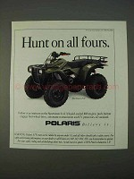 1995 Polaris Sportsman 4x4 ATV Ad - Hunt on all Fours