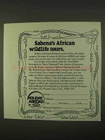 1974 Sabena Airline Ad - African Wildlife Tours