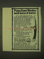 1974 Puma Warden #16-971 Knife Ad - Work-Horse