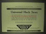 1922 Millers Falls Tools Universal Hack Saws Ad