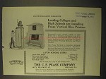 1922 C.F. Pease Vertical Blue Printers Ad - Colleges