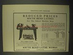 1922 South Bend Quick Change Gear Lathe Ad - Reduced Prices