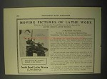 1922 South Bend Lathe Works Ad - Moving Pictures