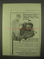 1922 Bradford Geared Head Lathe Ad - Operator's Ideal